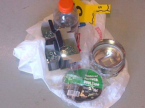 RCMPImage released by the RCMP showing contents (nuts, bolts, nails and washers) and other materials for the improvised explosive devices (IEDs).