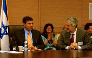 Daniel Pipes testifying before the Knesset's Immigration, Absorption and Diaspora Affairs Committee, chaired by Danny Danon, in March 2012.