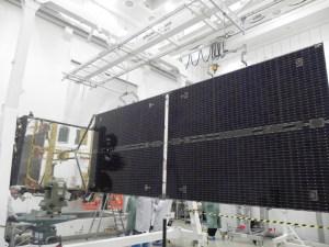 AMOS-4 Solar panel deployed