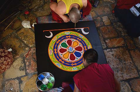 Tibetan monks work on peace mandala in Jerusalem's Tower of David.