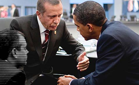 Prime Minister Recep Tayyip Erdoğan of Turkey speaks with President Barack Obama. The two leaders appear to be in complete agreement over Syria and Egypt.