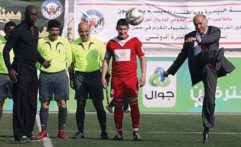 "PFA chief Jibril Rajub kicking the ball around. A major terrorist murderer, Rajoub is now ""irate"" because Israel won't let some Iraqi players and managers into the PA on security grounds. back in 2012, a Palestinian Goalie attacked IDF soldiers with an AK-47."