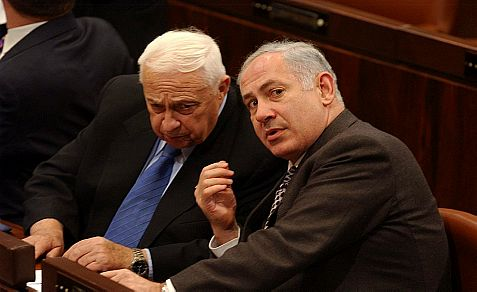 Former Prime Minister Ariel Sharon and Netanyahu in the Knesset in 2006