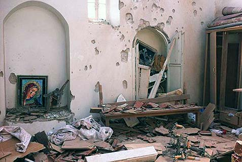 A church in the Syrian village of al-Duwayr, after an attack by Islamist militiamen.
