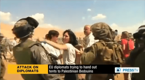 French EU Diplomat hitting IDF Border Policeman