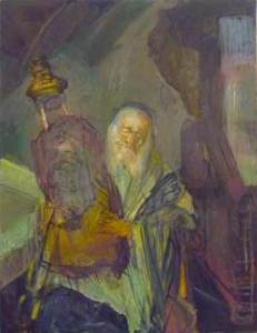 Jew with Torah (#2) (1990s), oil on canvas by Hyman Bloom.  Courtesy White Box and Estate of Hyman Bloom.