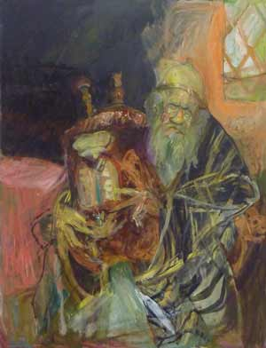 Jew with Torah (#9) (mid 1980's – early 1990's), oil on canvas by Hyman Bloom.  Courtesy White Box and Estate of Hyman Bloom.