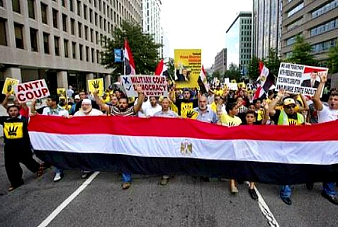 Muslim Brotherhood supporters march in Egypt, protesting the overthrow of Mohamad Morsi
