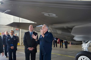 Israel's Defense Minister Moshe Yaalon inspects the F-35 war plane production line at Lockheed Martin production facility in Texas, USA on October 10, 2013.