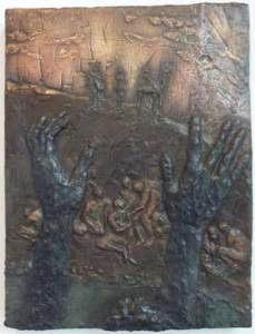 Joseph in the Pit (2012) 19 x 14, bronze relief by Lynda Caspe. Courtesy Derfner Judaica Museum – Hebrew Home at Riverdale.