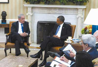 Israeli Prime Minister Benjamin Netanyahu meets with President Obama in the Ovan Office on Monday.