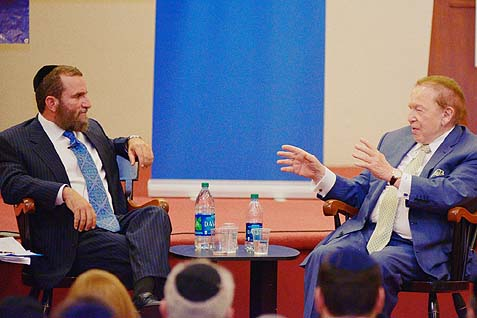 Rabbi Shmuley Boteach (L), and Sheldon Adelson in Yeshiva University's Lamport Hall event, October 22. Also participated: Yeshiva University President Richard Joel and Wall Street Journal columnist Bret Stephens.