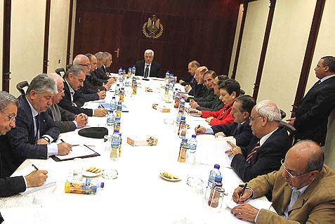 Palestinian president Mahmud Abbas chairs a meeting of the Executive Committee of the Palestine Liberation Organization.