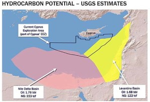 The Nile Delta and Levantine basins together contain an estimated 345 tcf of natural gas and 3.44 billion barrels of oil.