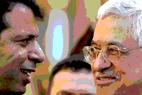 Palestinian Authority President Mahmoud Abbas (R) and ousted Fatah operative Mohamed Dahlan.