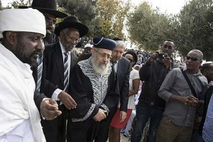 Qes Semai Elias (director of the Council of Kohanim of Ethiopian Jewry in Israel), Rabbi Shahar Aylin, Rabbi Yosef Hadane, and Rabbi Yitzhak Yosef at the Armon Hanatziv Promenade. Photo credit - Ilene Perlman.