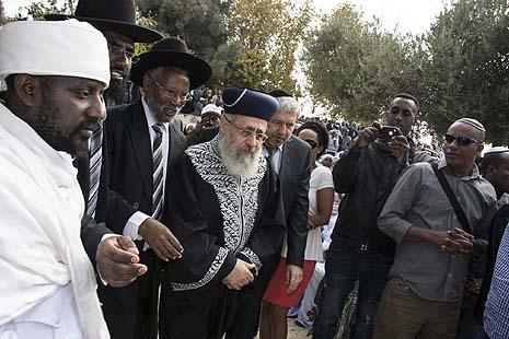 Qes Semai Elias (director of the Council of Kohanim of Ethiopian Jewry in Israel), Rabbi Shahar Aylin, Rabbi Yosef Hadane, and Rabbi Yitzhak Yosef at the Armon Hanatziv Promenade. Photo credit - Ilene Perlman.