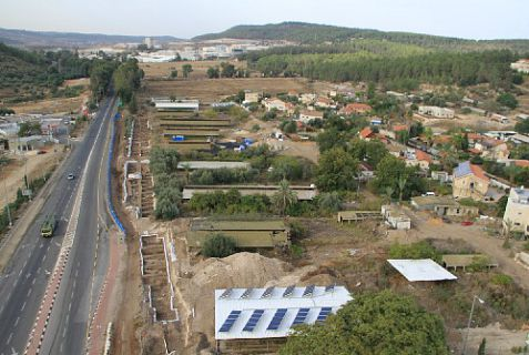 Aerial view of excavations prior to widening the highway at Beit Shemesh,