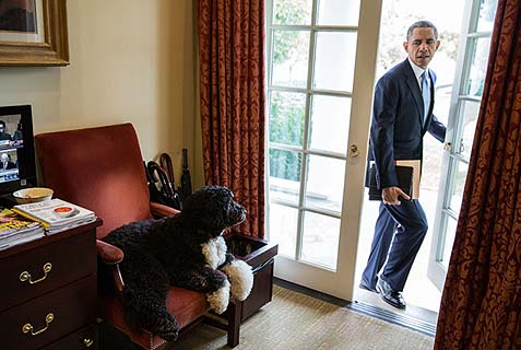 President Barack Obama with a friend he hasn't turned on yet, at the Oval Office.