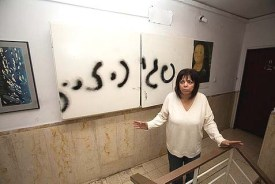 Peggy Cidor, executive board member of Women of the Wall, in the stairwell of her apartment building in Jerusalem, Israel.
