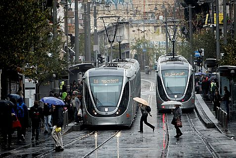 Heavy rains are falling in Jerusalem Sunday, two days after Passover.