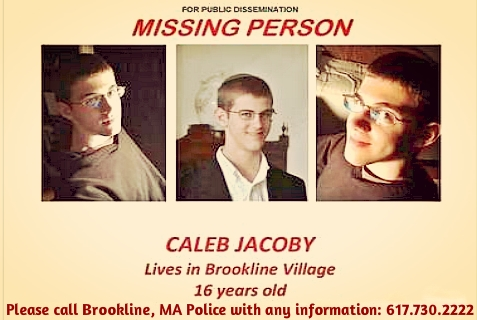 Brookline, MA Police Dept. released this flier in hopes of finding missing teen, Caleb Jacoby