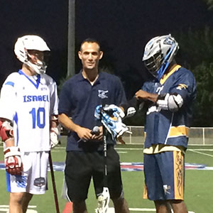 Jordan Karp (left) with lacrosse player Chazz Woodson.