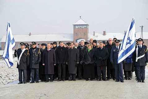 Members of Knesset at Auschwitz for Holocaust Remembrance Day on Monday.