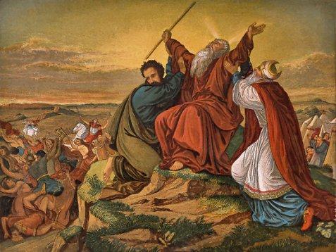 Hur et Aaron tenant les mains de Moshé que Josué a combattu Amalek.