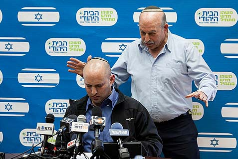 Jewish Home officials Naftali Bennett and Nissan Slomiansky. The party has been threatening to leave government should Tzipi, Bibi, et. al. pursue a deal to dismantle settlements. I say: please don't do us any favors, stay inside, where you can at least do some good with your power. The rest of us must start thinking for ourselves and outside the box.