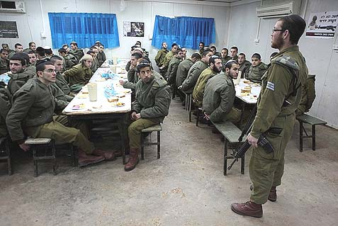 Haredi IDF soldiers of the IDF Nahal Haredi battalion in the mess hall of their base, in the northern Jordan valley. The IDF is planning two new Haredi battalions and men only recruitment center and boot camp.