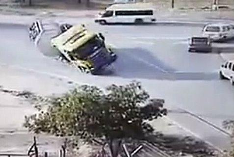 Milk truck takes a spill in Gush Etzion.