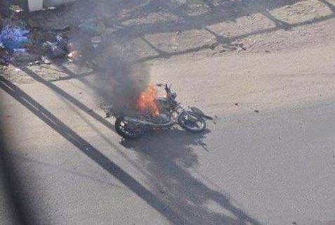 Motorcycle riding terrorist hit in an Israeli air strike.