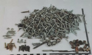 Screws, nails ball bearings and other metal pieces that were inside the bomb to maximize the number of people killed.