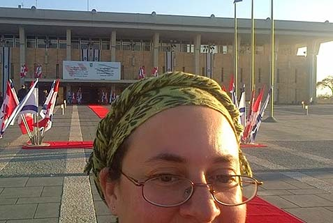 Jennifer snapped a selfie in front of the Knesset before PM Harper's Jan. 21 speech.