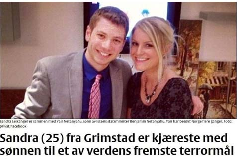 The caption under the image reads: Sandra (25) from Grimstad is romantic partner with the son of one of the world's foremost terror targets (Thank you, Paul Goldstein, for the correction).