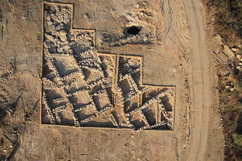 Aerial photograph of the 2300-year-old village discovered outside Jerusalem.