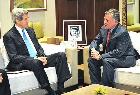 U.S. Secretary of State John Kerry meets with Jordanian King Abdullah II in Amman, Jordan.