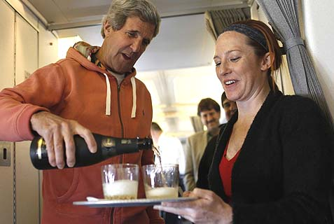 State Dept. Spokesperson Jen Psaki (R) with Secretary of State John Kerry. Psaki revealed Kerry himself has no trust in the promise of regional acceptance he's been lavishing on Israel.