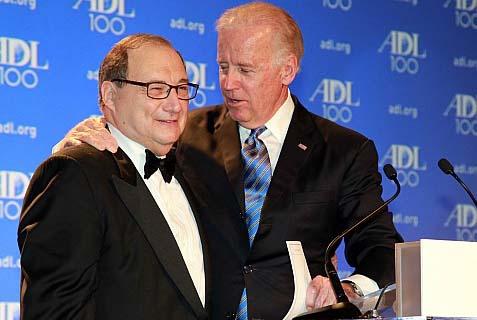 Vice President Joe Biden embraces ADL national director Abraham Foxman at the group's centenary gala.