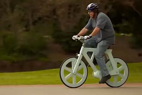 Waterproof bicycle made of cardboard, costs about $9 to make, sells for about $60, weighs about 20 pounds and carries up to 500 pounds. Made in Israel.