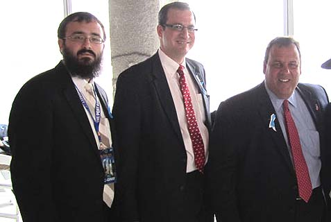 Gov. Chris Christie, with, from left, Rabbi Mendy Carlebach and Port Authority commissioner Jeffrey Moerdler.