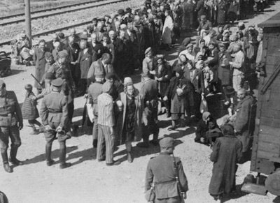 Hungarian Jews arriving at Auschwitz.