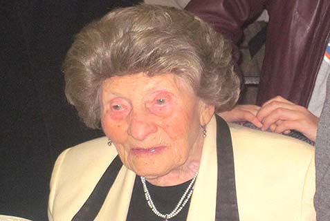 "Mrs. Miriam Mendlowitz a""h at her 102nd birthday."