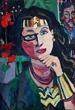 "Julie as Wonder Woman (2013) 26"" x 40"" acrylic on paper, by Joel Silverstein Courtesy the artist"