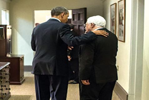 President Barack Obama says goodbye to Palestinian Authority President Mahmoud Abbas after concluding meetings in the West Wing of the White House, March 17.
