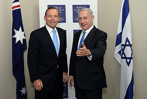 Prime Minister of Australia Tony Abbott and Netanyahu at the annual meeting of the World Economic Forum in Davos this past January 2014.