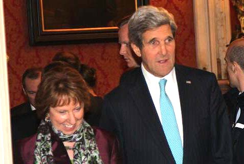 Secretary of State John Kerry with Baroness Catherine Ashton,  the High Representative of the Union for Foreign Affairs and Security Policy for the European Union.