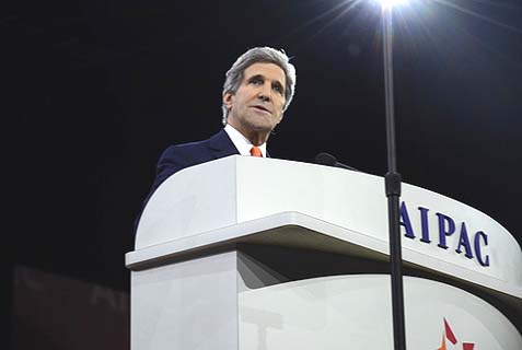 Secretary of State John Kerry addressing the American Israel Public Affairs Committee conference on Monday.