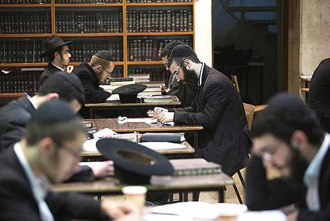 Students at the at the Torat Emet Yeshiva in Jerusalem.